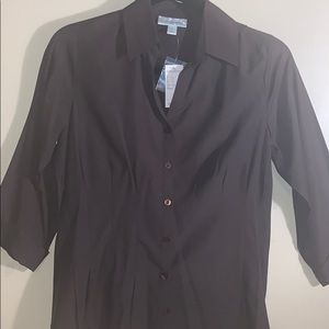 Chocolate Fitted Button Up Cuffed Sleeve Blouse